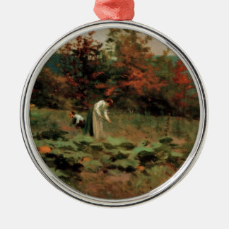 pumpkin-patch Silver-Colored round ornament