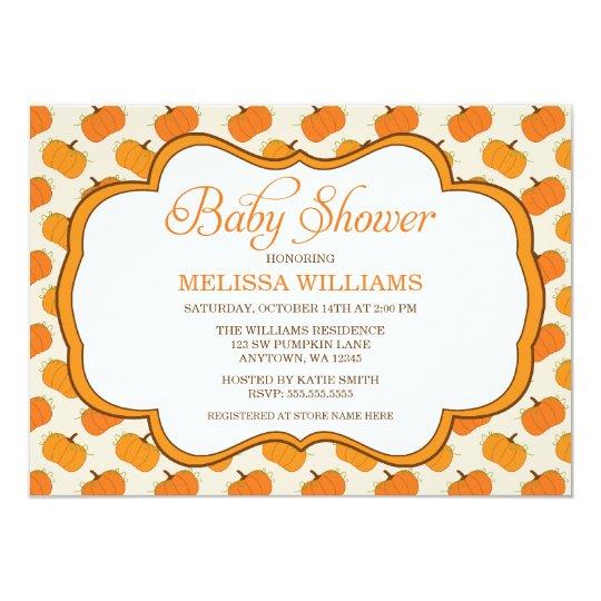 Pumpkin Pattern Frame Baby Shower Card
