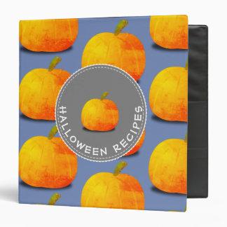 Pumpkin Pattern Halloween Recipes 3 Ring Binders