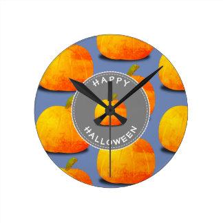 Pumpkin Pattern Halloween Round Clock
