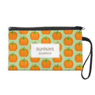 Pumpkin pattern wristlet