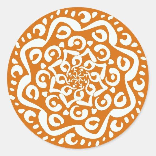 Pumpkin Pie Mandala Classic Round Sticker