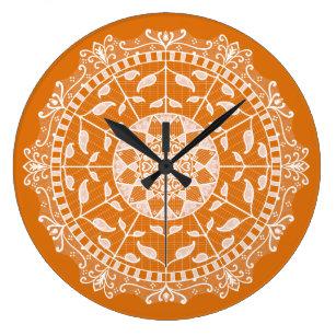 Pumpkin Pie Mandala Large Clock