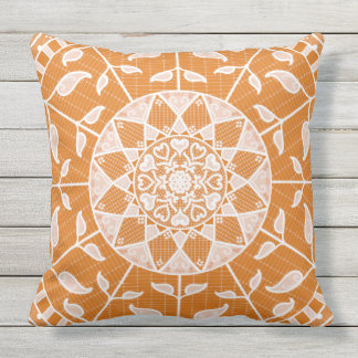 Pumpkin Pie Mandala Outdoor Pillow