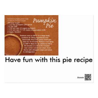 Pumpkin pie recipe postcard