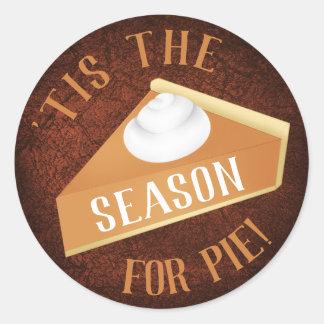 Pumpkin pie season classic round sticker