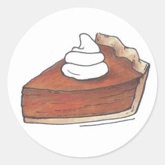 Pumpkin Pie Slice Baking Thanksgiving Holiday Food Classic Round Sticker