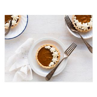 Pumpkin pie Thanksgiving postcard