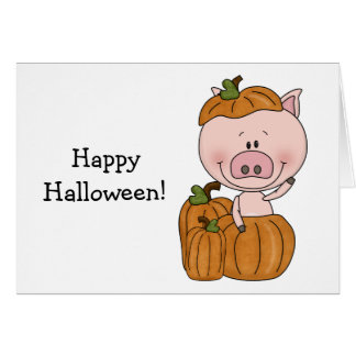 Pumpkin Pig (customizable) Card