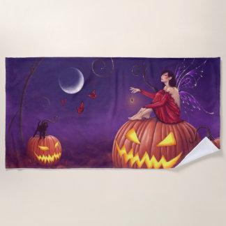 Pumpkin Pixie Halloween Fairy Beach Towel