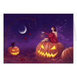 Pumpkin Pixie Halloween Fairy Greeting Card Cards