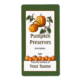 Pumpkin Preserves Canning Label Shipping Label