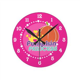 Pumpkin Princess Round Clock