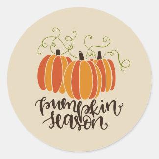 Pumpkin Season Thanksgiving Fall Classic Round Sticker