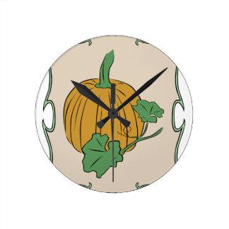 Pumpkin Sign Round Clock