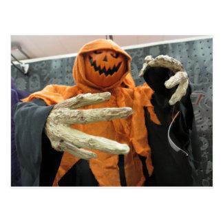 Pumpkin Skeleton Postcard