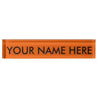 PUMPKIN (solid orange color, dudes & dudettes ) ~ Desk Name Plates