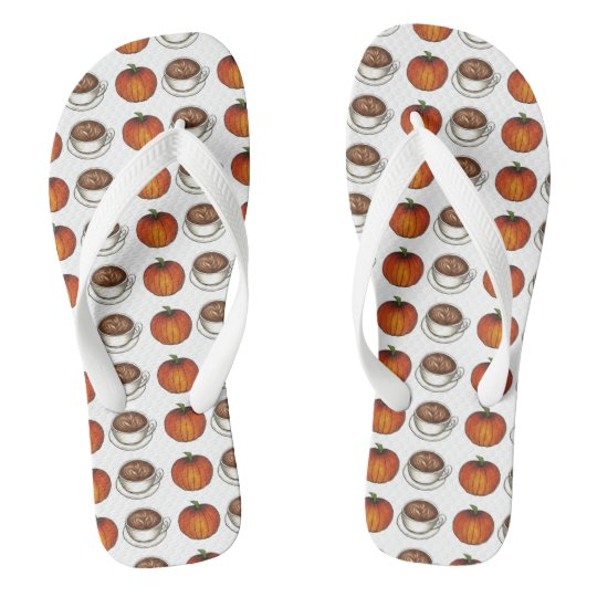 Pumpkin Spice Coffee Latte Autumn Fall Flip Flops
