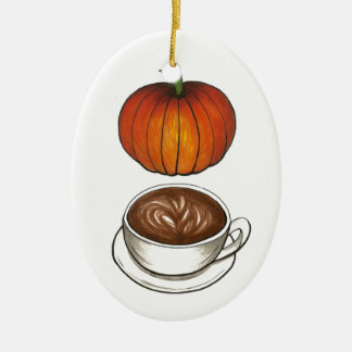 Pumpkin Spice Coffee Latte Holiday Ornament