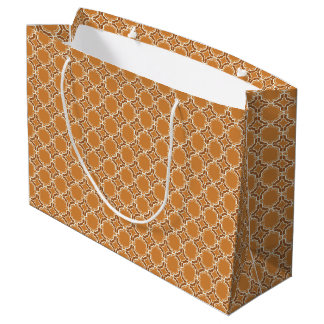 Pumpkin Spice Moroccan Lattice Pattern Large Gift Bag