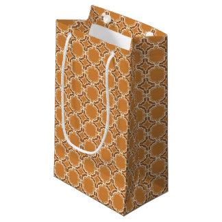 Pumpkin Spice Moroccan Lattice Pattern Small Gift Bag