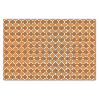 Pumpkin Spice Moroccan Quatrefoil Pattern Tissue Paper