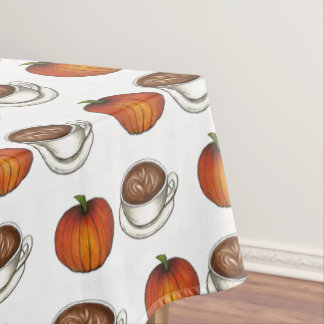 Pumpkin Spice Season Coffee Latte Fall Autumn Tablecloth