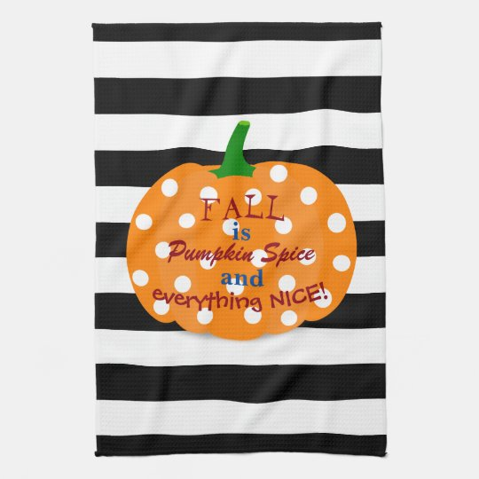 Pumpkin Spice Striped Kitchen Towel