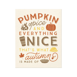Pumpkin Spice Typographic Autumn Art Canvas Print