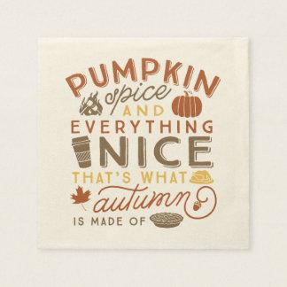Pumpkin Spice Typographic Autumn Cocktail Napkin