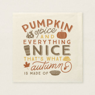 Pumpkin Spice Typographic Autumn Cocktail Napkin Disposable Napkins