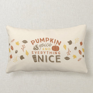 Pumpkin Spice Typographic Autumn Home Decor Lumbar Pillow