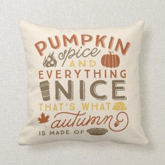 Pumpkin Spice Typographic Autumn Throw Pillow