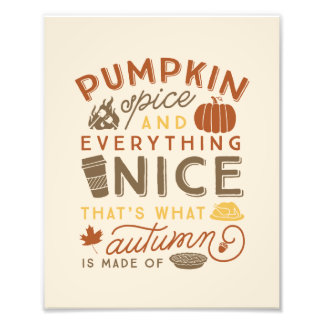 Pumpkin Spice Typographic Fall Autumn Art Print