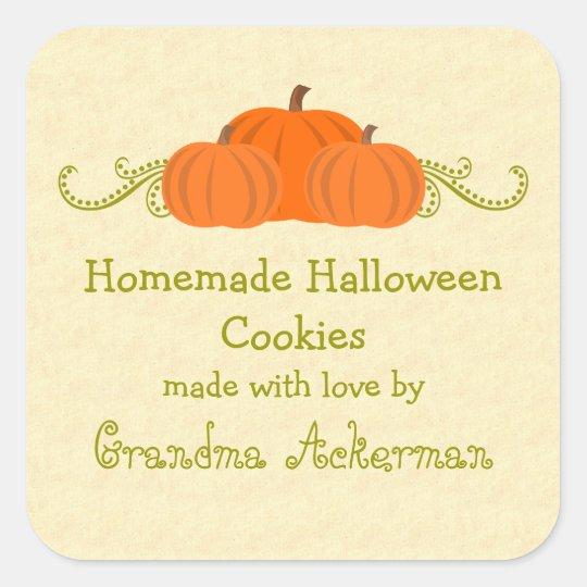 Pumpkin Swirls Halloween Baking Label Stickers