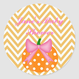 Pumpkin Themed Baby girl shower Sticker