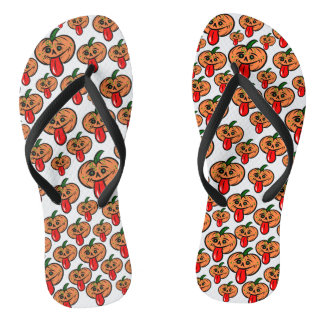 Pumpkin Tongue Flip Flops