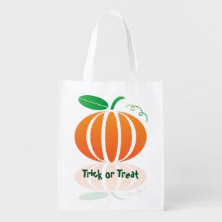Pumpkin Trick or Treat Reusable Tote Reusable Grocery Bag