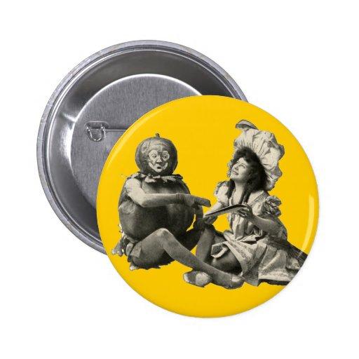Pumpkin Vintage Antique Actors Costume Humorous Button