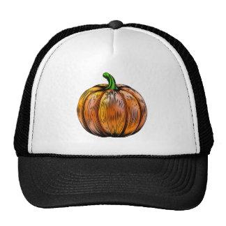 Pumpkin vintage woodcut illustration hats