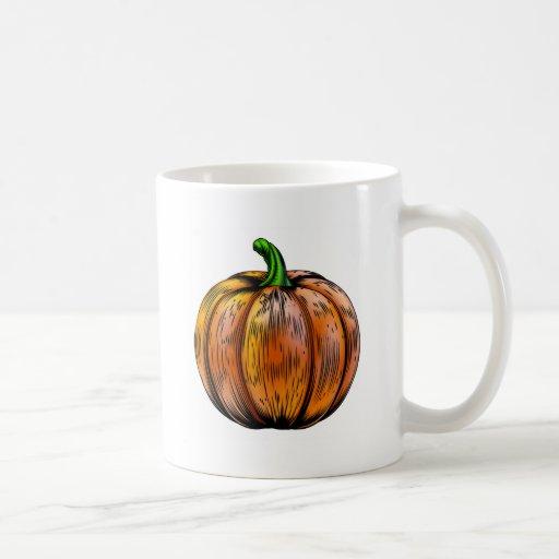 Pumpkin vintage woodcut illustration coffee mug