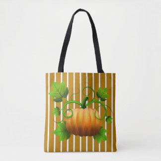Pumpkin w/Gold Stripes Tote Bag