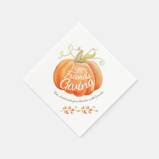 Pumpkin watercolor art friendsgiving napkins