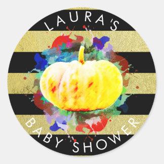 Pumpkin Watercolor Baby Shower Fall Season Classic Round Sticker