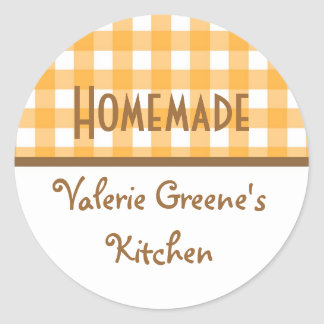 Pumpkin white gingham homemade food label seal sticker