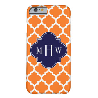 Pumpkin White Moroccan #5 Navy 3 Initial Monogram Barely There iPhone 6 Case