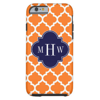 Pumpkin White Moroccan #5 Navy 3 Initial Monogram Tough iPhone 6 Case