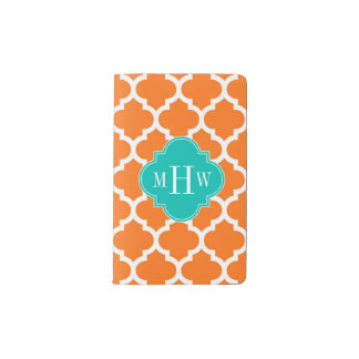 Pumpkin White Moroccan #5 Teal 3 Initial Monogram Pocket Moleskine Notebook