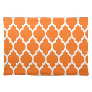 Pumpkin White Moroccan Quatrefoil Pattern #4 Placemat