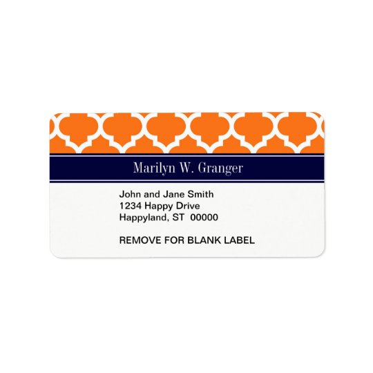 Pumpkin Wht Moroccan #5 Navy Blue Name Monogram Label